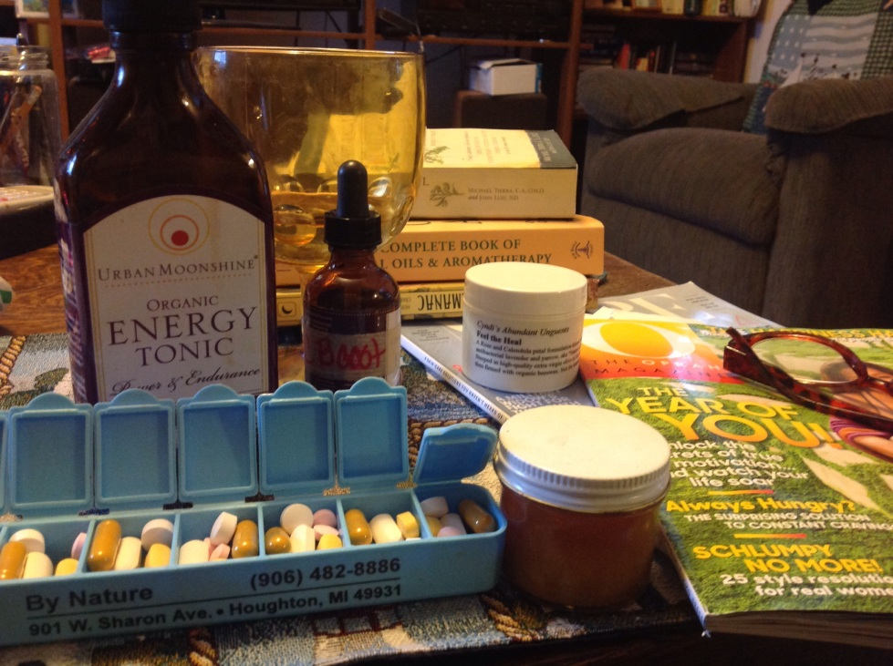Vitamins are supplemented by adrenal tonic, rose hip tincture packed with C and my homemade salves and balms.
