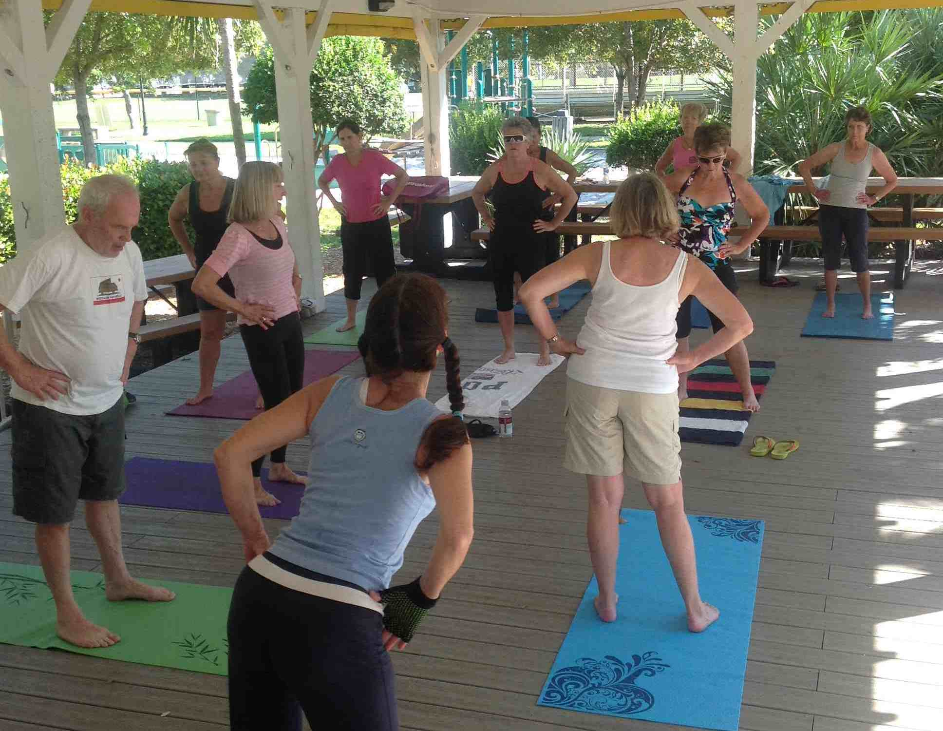 Marathon City Park adjacent to the city marina hosts complimentary yoga during the height of cruising season in the Florida Keys.