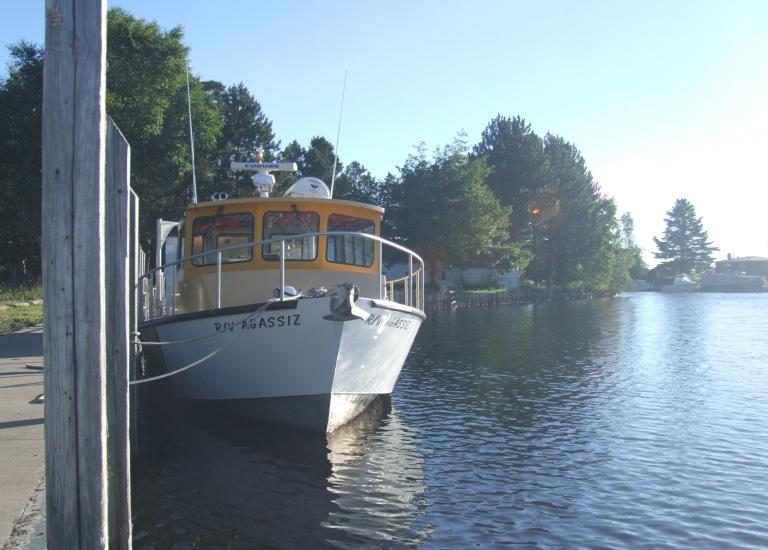 The R/V Aggasiz docked off Big Traverse Bay on Lake Superior.